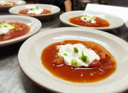Roasted mozzarella with a sweet & tangy tomato sauce. Was paired with Soave Sauvignon Blanc.