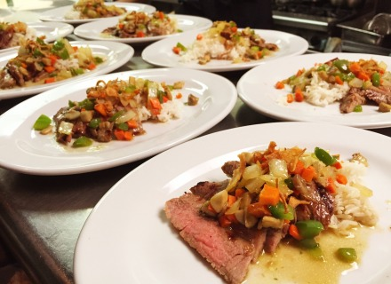 Border Runner beef entree with white rice. Paired up with a 2012 Montes Classic Series Cabernet Sauvignon from Chile.
