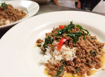 Minced beef with chili, garlic, and mint leaf over rice.