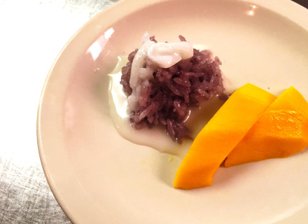 And finally a dessert, sweet blueberry sticky rice with delicious mango.