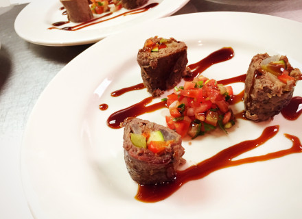 Wagyu beef wrapped around julienned fresh vegetables