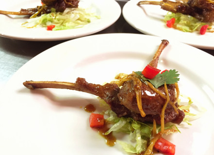 Ginger curry glazed lamb chops