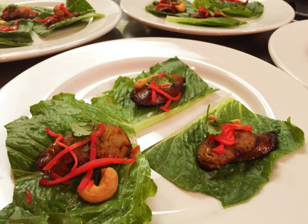 Northern Thai Sausage: Ginger, cilantro, cashew nut on a bed of lettuce paired up with Hacker-Pschorr Original Oktoberfest