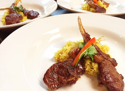 Ginger glazed lamb chops, herbal rice