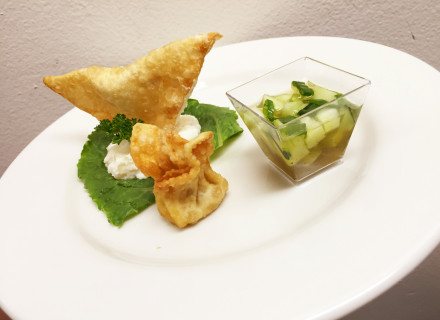 Beef and lamb wonton, with mashed potato and cucumber ajad