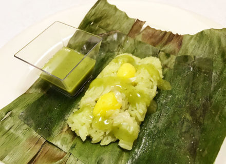 roasted banana leaf wrapped pandan flavor coconut, ginkgo nut sweet rice