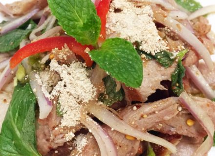 Grilled pork toasted with lime juice, fish sauce, rice powder, chili powder and mint leaves