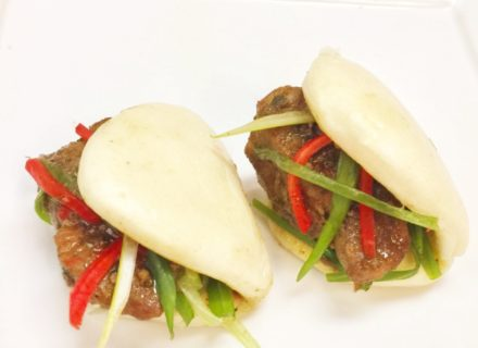 Soya pork in steamed pao bun