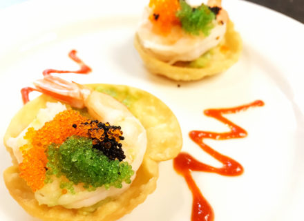 Shrimp, tobiko caviar and avocado crisps.