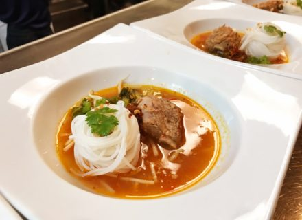 Pork short rib soup with riceghetti noodle.