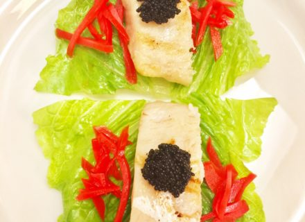 Lettuce wrap grilled yellow tail with tobiko caviar and pickled ginger
