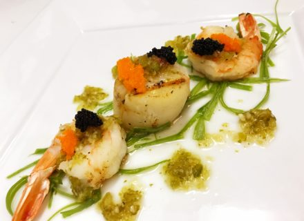 Seared scallop and shrimp with tobiko caviar. Touched in spicy lime dressing.