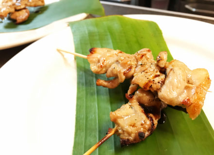 Grilled fatty pork on a skewer