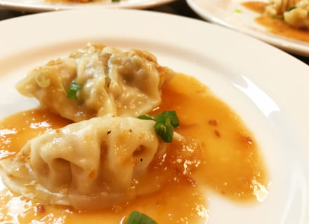 Chicken thigh meat poached in wonton skin