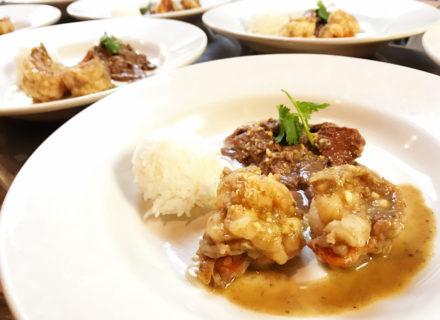 Garlic shrimp and beeftenderloin