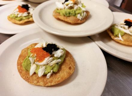 Crab/Tobiko caviar/avocado canapé paired with a Cabernet Franc